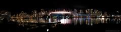 False Creek night panorama (Zorro1968) Tags: city panorama skyline night vancouver falsecreek bcplace rogersarena
