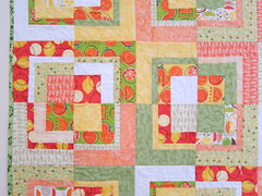 Citrus Sunshine Baby Quilt - Closeup (PatchworkDuck) Tags: orange baby white green yellow modern lemon log cabin quilt box squares modified bento citrus scraps