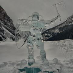 My Hero (Keeperofthezoo) Tags: winter snow canada mountains ice rockies frozen globe alberta banff rockymountains lakelouise icesculpture banffnationalpark icemagic canonxsi icemagicfestival