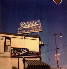 Philippe's In Daytime (tobysx70) Tags: california ca street door blue original light toby sky color slr sign project french polaroid sx70 restaurant la los downtown neon angeles north sandwich tip shade rollers hancock alameda dip ord 70 slr680 philippe 680 impossible dipped the px philippes colorshade px70 frankenroid theimpossibleproject tobyhancock