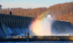 Damn rainbow (Andrea HdG) Tags: trees water birds rainbow woods dam maryland susquehannariver hydroelectric floodgates conowingodam
