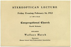 Wallace Hatch, Stereopticon Lecture, Feb. 16, 1912 (Alan Mays) Tags: old ri vintage tickets antique churches ephemera rhodeisland hatch 1912 1910s lectures groups scituate tuberculosis associations societies congregationalchurch organizations february16 northscituate stereopticons slideprojectors magiclanterns admissiontickets oldcongregationalchurch stereopticans wallacehatch rhodeislandantituberculosisassociation