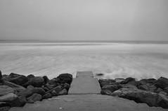 36/366 - Lahinch (garycollins2) Tags: ocean ireland sea bw white black beach water fog speed nikon long clare slow steps atlantic shutter lahinch disappear 366 lehinch d5000