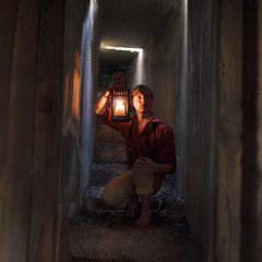 What lies behind the cellar door. (David Talley) Tags: california lighting light shadow reflection abandoned shirt mystery stairs hair stair candle shadows ben cement basement dirty stairway burning flame burn abandonedhouse blonde stick lantern claremont blondehair goonies harper discovery cellar flaming candlestick redshirt lightrays benharper dressshirt thegoonies claremontvillage liveoakcanyon 365project davidtalley jacobrobertprice
