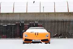 Snow Plow. (Alex Penfold) Tags: auto camera orange snow cars alex sports car sport mobile canon photography eos reading photo cool flickr image awesome flash stripe picture convertible super spot spyder exotic photograph spotted hyper lamborghini supercar spotting exotica gallardo sportscar 2012 sportscars supercars lambo penfold spide spotter superleggera 570 hypercar 60d hypercars performante alexpenfold