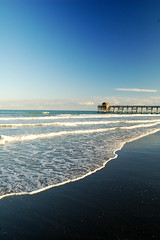 Florida Pier (albinobobman) Tags: ocean blue sea beach water coast pier waves florida relaxing coastline