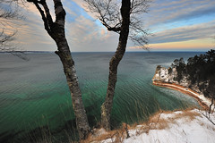 """Miners Castle in Winter""  Pictured Rocks National Lakeshore (Michigan Nut) Tags: winter sunset sky usa snow green ice nature clouds landscape geotagged nationalpark midwest michigan greatlakes lakesuperior snowscape munising picturedrocksnationallakeshore minerscastle johnmccormick michigannutphotography"