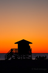 Lifeguard Stand in Silhouette (Mark Schraeger) Tags: ocean people beach gulfofmexico silhouette canon gulf florida siestakey lifeguardstand siestabeach yabbadabbadoo canon7d