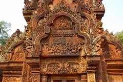 Stone carvings at Banteay Srei temple near Siem Reap, Cambodia (UweBKK ( 77 on )) Tags: park history stone ancient ruins cambodia kambodscha sony temples siem reap historical alpha dslr angkor archeology 77 carvings slt archeological banteaysrei banteay srei