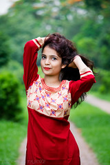 || Gorgeous Sanju || (NahidHasan95) Tags: red portrait sun sunlight white black flower color tree nature girl fashion wall leaf shoot dress outdoor passion meroon