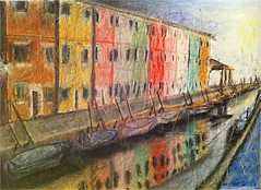 Burano (Yael Burin) Tags: venice sky italy lake color love water chalk colorful view drawing pastel drawings yael charcoal burano burin