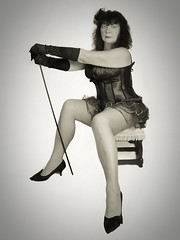 Burlesque (Mike McCusker ARPS) Tags: portrait bw cane female mono dancer walkingstick corset burlesque