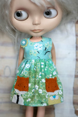 Date night (Button Arcade) Tags: flowers blue green wool dress felt fox blythe pockets buttonarcade
