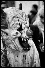 Zombie Walk (082) - 23Oct11, Paris (France) (]) Tags: blackandwhite bw paris mouth dead death scary blood mask noiretblanc zombie walk mort clown teeth fear grain makeup nb parade spooky panic gore horror terror bouche sang maquillage marche dents masque horreur peur livingdead terreur panique zombiewalk effrayant mortvivant