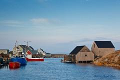 Peggys Cove Village at sunrise (laszlofromhalifax) Tags: canada water boats coast fishing novascotia cove coastal peggyscove atlanticocean maritimes vessels vilalge gettyimagescanada