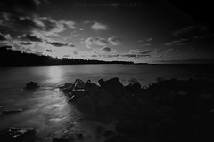 IMG_4990-1 (HardBreakKid) Tags: longexposure sunset sea bw white black beach water blackwhite rocks brunei 1022mm hitech manfrotto monocrome tungku canoneos50d prostop