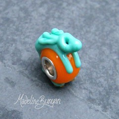 """Celadon and Orange Bunny Silver Cored Bead • <a style=""""font-size:0.8em;"""" href=""""https://www.flickr.com/photos/37516896@N05/6418491013/"""" target=""""_blank"""">View on Flickr</a>"""