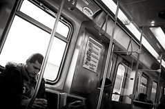Wait and See (TerryJohnston) Tags: street portrait bw chicago black face subway noir publictransportation candid streetphotography chitown il l fujifilm x100 fujifilmx100