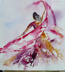 envol-4 (veroniquepiaser-moyen) Tags: india watercolor painting drawing aquarelle dessin peinture inde dancinggirl hijra danseuse piaser moyenpiasermoyen