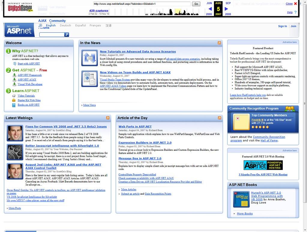 ASP.NET site - 2007