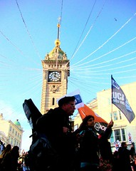 Running out of time (brightondj) Tags: uk clock march brighton protest clocktower demonstration christmasdecorations strike unions n30 tradeunions xmasdecorations november30thstrike