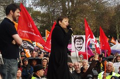 Caroline Lucas MP addresses the rally (brightondj) Tags: uk march brighton protest demonstration strike unions n30 greenparty tradeunions carolinelucasmp november30thstrike