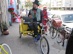 Pedicab staging area outside Flying Pigeon LA (ubrayj02) Tags: park christmas holiday bike bicycle bicycling la flying losangeles los oven angeles pigeon bikes parade bicycles highland biking highlandpark pedicab nela flyingpigeon 90065 90042 bikeoven yubamundo flyingpigeonla flyingpigeonlacom