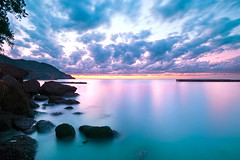 Bentenjima in 4:54PM [Explore] (-TommyTsutsui- [nextBlessing]) Tags: longexposure pink blue light sunset sea sky lighthouse seascape nature yellow rock japan clouds landscape nikon purple dusk magic tide scenic wave shore       izu  matsuzaki sigma1020 lateautumn   onsalegettyimages