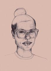 nerd (Claire Baldairon) Tags: portrait nerd girl pen drawing