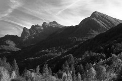 in the shadow of the mountains (crazyhorse_mk) Tags: autumn light shadow sky bw mountain france alps nature clouds forest landscape blackwhite valey provencealpescotedazur reallon lesgourniers picdeschabrieres
