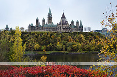 Parliament of Canada (Naomi Rahim (thanks for 2 million hits)) Tags: travel flowers autumn trees lake ontario canada building fall water architecture river ottawa parliament nikond7000