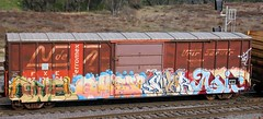 OWELOMEXSWABASIC (KNOWLEDGE IS KING_) Tags: color art yard train bench graffiti paint panel tracks railway socal railcar crew etc law boxcar wai piece burner bomb railfan freight fill sluts swab sfe in rollingstock uti endtoend asic dcv omex owel ferromex e2e paintedsteel