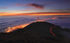 Above it All (Alan Chan Photography) Tags: sanfrancisco fog sunrise no mother since used your goldengatebridge lighttrails said filters marinheadlands sanfranciscoskyline lowfog highclouds canon2470 slackerhill slackerridge canon5dmarkii yourmothershouse yourgrandmothershouse