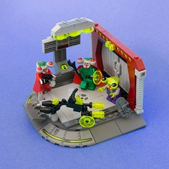 Squidboy's First Hoverbike (ted @ndes) Tags: bike lego space alien cycle vignette speeder hover lsb blacktron 16x16 squidman