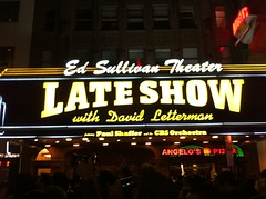 Now here! But in front of speakers so can't hear again … (Sweet One) Tags: new york city nyc usa ny newyork sign night broadway newyearseve lateshowwithdavidletterman edsullivantheatre