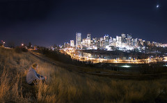 city lookout (Tasha Mare) Tags: street city boy sky moon calgary grass marie night clouds stars landscape person photography lights nikon sitting watching fisheye nighttime alberta nikkor tasha 105mm d7000 thephotographyqueen tashamariephotography teapalm