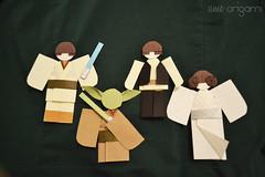 Star Wars Origami Dolls (umeorigami) Tags: starwars origami yoda princessleia scifi sciencefiction lukeskywalker hansolo origamidolls
