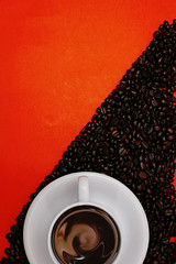 coffee background (bank325i) Tags: red food brown white black hot cup coffee leaves vertical shop closeup breakfast ceramic design beans break drink chocolate background smoke beverage bean smoking line bow mug backdrop espresso grains caffeine cappuccino coffe brew addiction topview cofee roasted capuccino arabica boost coffeebeans capuchino brewed coffein