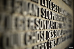 Commemorative plaque (French Vadrouilleur) Tags: grave pen bokeh letters olympus panasonic 20mm ep3 writings m43 μ43