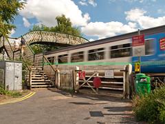 Whitlingham Junction (Gerry Balding) Tags: england train footbridge gates norfolk norwich eastanglia levelcrossing whitlingham dmu class156 wherrylines