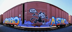 The Cool Cats! (KNOWLEDGE IS KING_) Tags: cats color art car yard train bench graffiti cool paint panel felix tracks rail railway socal crew etc boxcar piece burner bomb railfan freight bozo fill kcs the in rollingstock rtd asic stitchedpanorama benched paintedsteel
