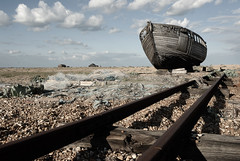 Dilapidated Fishing Boat on Dungeness Beach (Puckpics) Tags: abandoned industry landscape kent fishing europe shingle puckle windswept worn weathered dungeness derelict dilapidated allrightsreserved corroded fishingindustry historicindustry ringexcellence dblringexcellence tplringexcellence charlespuckle nauralised dungenesspoint eltringexcellence shingledesert