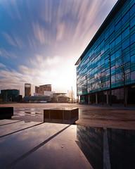Sunrise over the Lowry (bitrot) Tags: manchester salfordquays bbc nd salford f11 lowry lightroom lr3 17mm lowrytheatre iso50 neutraldensityfilter neutraldensity ef1740mmf4lusm mediacity ndx1000 lightroom3 canoneos5dmarkii mediacityuk 200sec