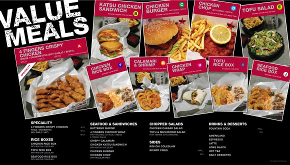 4 Fingers Crispy Chicken menu in Singapore, which is similar to their menu here