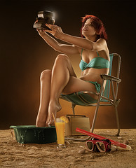 (Csheemoney) Tags: portrait selfportrait beach girl studio funny humor retouch pinup makeshiftbeach nemanjapesiccom
