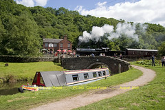 PC 423 and PC 383 Consall Forge (Sheila Halsall) Tags: uk england water train visions boat canal britain postcard engine cruising railway steam valley canon10d forge staffordshire narrowboat waterway caldon halsall consall churnet churnetvalley consallforge caldoncanal sheilahalsall