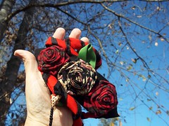 Handfasting Cord w Fabric Roses (ClandestineArt) Tags: wedding gypsy wicca handfasting pagan wiccan fabricflowers fabricroses handfastingcord