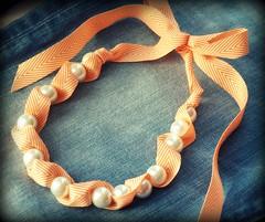 Tildie Ribbon Necklace by Twillypop (twillypop) Tags: orange jewelry chevron ribbonnecklace spring2012 tangerinemfashion handmadejanuary2012