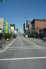 A Long Long Street (Jocey K) Tags: road street trees sky people canada colour lines vancouver budilings