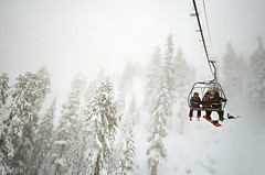 white out (Terry Barentsen) Tags: california lake snow film snowboarding gold skiing kodak tahoe valley 100 ricoh gr1 2012 squaw